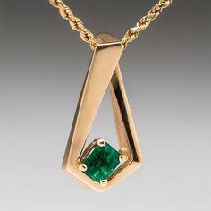 vintage angular green emerald pendant 14k gold 259900