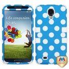 Samsung Galaxy S4 Hybrid Case - White Polka Dots(Blue)