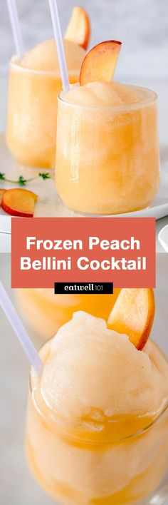 Frozen Peach Bellini Cocktail - Light, refreshing and super easy to make! This elegant cocktail slush will be a hit for any summer party.
