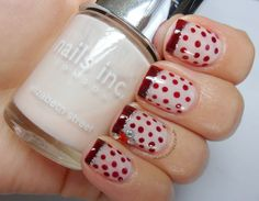 60's Red Polka Dot French (used Nails Inc Elizabeth Street, Nails Inc Victoria)