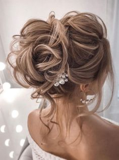 44 Messy updo hairstyles - The most romantic updo to get . - 44 Messy updo hairstyles – The most romantic updo to get an elegant look – Wedding hairstyles Romantic Updo, Romantic Hairstyles, Wedding Hairstyles For Long Hair, Bride Hairstyles, Messy Hairstyles, Hairstyle Ideas, Elegant Updo, Hairstyle With Gown, Romantic Weddings