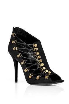 Black Canvas Bootie by BALMAIN | Luxury fashion online | STYLEBOP.com