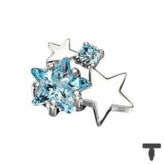 Dermal Anchor silber doppel Sternkristall aqua in Materialstärke mm Dermal Anchor, Anchor Jewelry, Chf, Piercing, Aqua, Stud Earrings, Accessories, Dermal Piercing, Water