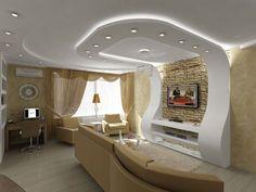 Оформление потолка в гостиной из гипсокартона