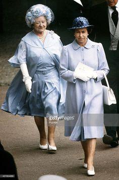 Queen Elizabeth II and the Queen Mother at Ascot, June 1982.
