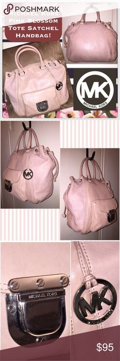 """Michael Kors Pink Blossom Tote Satchel Handbag! Michael Kors Pink Blossom Tote Satchel Handbag! Features: 100% authentic, soft leather, pink blossom color, silver tone hw, drawstring design, adjustable leather ties, int snap closure, leather handles, front snap pocket, 1 int side zip pocket w/leather pull, four int slip pockets, key fob, & MK lining. 13"""" high X 15"""" across x 5"""" wide with 5"""" arm/hand clearance. Some minor ext marks. VG condition. Offers welcomed! MICHAEL Michael Kors Bags"""