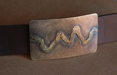 Signed Original Rustic Mountain Range Belt Buckle by ironartcanada