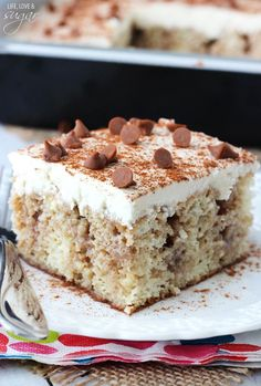 Cinnamon Roll Poke Cake - vanilla cake soaked with a cinnamon, brown sugar, butter mixture, topped with vanilla icing!