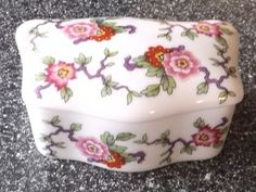 Uniquely Shaped LECLAIR Limoges Chinoiserie TRINKET BOX Pink & Purple Floral