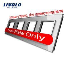Livolo فاخر رمادي الكريستال والزجاج لوحة التبديل ، 293 ملليمتر * 80 ملليمتر ، الاتحاد الأوروبي القياسية ، الرباعي لوحة زجاجية ، VL-C7-4SR-15