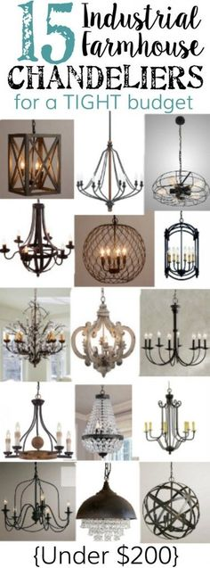 15 Industrial Farmhouse Chandeliers for a Tight Budget. 15 Industrial Farmhouse Chandeliers for a Tight Budget. Contemporary Home Lighting - In the Living Room. living room lighting ideas Click image for more details. House Design, Farmhouse Dining, Farmhouse Decor, Farmhouse Chic, Farmhouse Chandelier, Industrial Farmhouse Lighting, Home Lighting, Industrial Interiors, Industrial Farmhouse