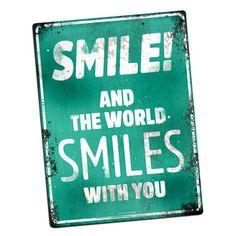 Plaque métallique décorative SMILE!