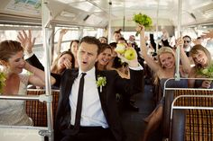 They transported all of their guests in a double decker bus! Cool! From Real Wedding: Casey and Erin