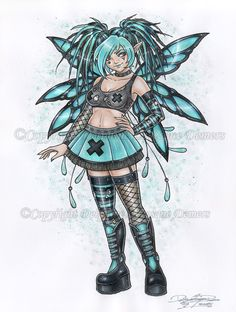 Cyber Goth Fairy by delphineart.deviantart.com on @DeviantArt