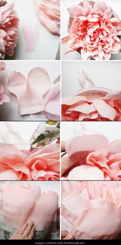 Giant Crepe Paper Peony---Part 7 of 10 . Tissue Paper Flowers, Giant Paper Flowers, Faux Flowers, Diy Flowers, Fabric Flowers, Diy Paper, Paper Crafts, Paper Peonies, Paper Flower Tutorial