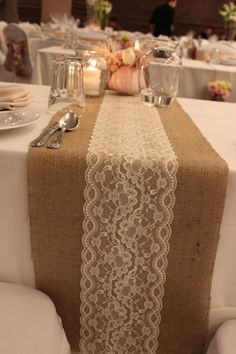 Burlap Lace Table Runner along with rose, gold and blush details for center pieces