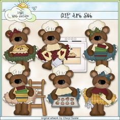 Whimsical Baking Bears 1 - Exclusive Clip Art by Cheryl Seslar