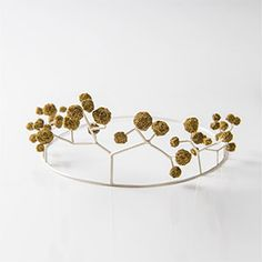 Burcu Sulek , tiara , Blooming Happiness collection Silver, gold pigment painted and hardened sponge