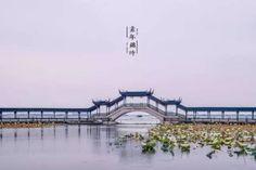 A long bridge with veranda in water town Jinxi, Suzhou