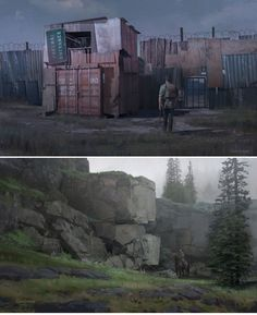 an abandoned shipping yard full of containers that have been ransacked and scavenged and become a perfect home