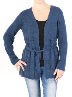Chaqueta larga de punto calado para mujer y cuello de pico. Tu aliada la temporada de invierno 2014. Diseño original entrelazada con un lazo, en 5 colores.
