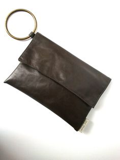 Grey Vegan Leather clutch with attached bracelet by TikeStudio, $55.00