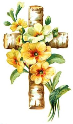 A religious cross made from birch tree branches and covered with yellow and orange flowers. Cross Pictures, Jesus Pictures, Religious Images, Religious Art, Easter Drawings, Easter Greeting Cards, Easter Printables, Cross Paintings, Vintage Easter