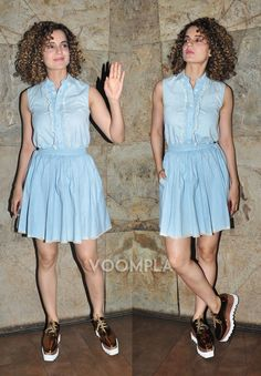 A girly blue dress is Kangana's casual style pic for a movie outing... via Voompla.com