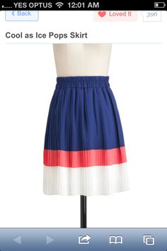 Navy, coral and white skirt
