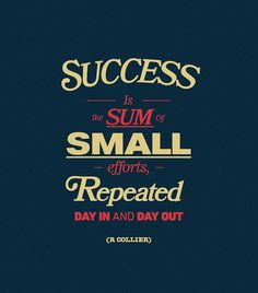 Success is Sum of small efforts repeated day in and day out