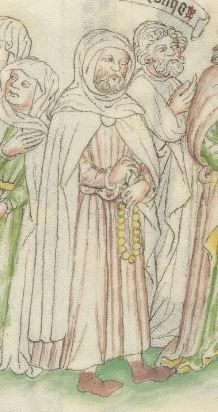 pilgrim with rosary Wellcome MS49 f28v