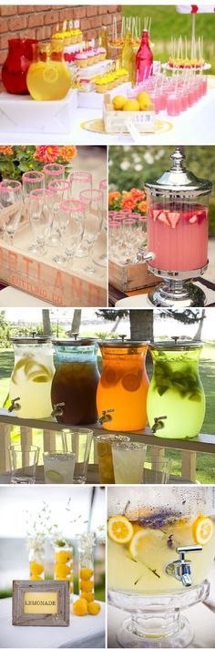 Lemonade Bar - great idea for a wedding or shower! With and without alcohol. Use small frames, labels or tags to indicate what's in each container. :)