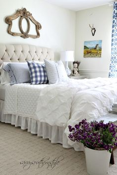 Savvy Southern Style: Adding Color and Pattern in the Guest Room, blue and white, buffalo checks, pattern, French country, vintage, Ikea, Pottery Barn, French Laundry Home, Overstock