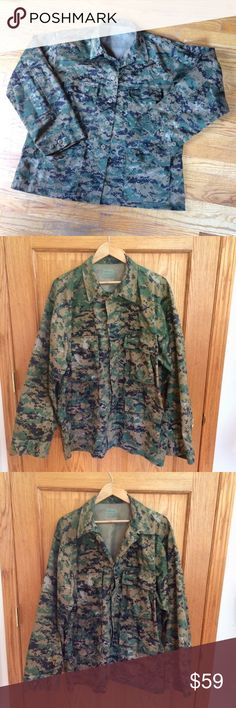 """Authentic Military Camouflage Jacket Military pixelated camouflage jacket. 55% cotton & 45% polyester. Measurements approximately as follows: chest 45"""" to 49, sleeves 25.5"""", length 31"""" and cuffs 8"""". Excellent condition!!   R1 Fox Outdoor Products Jackets & Coats Military & Field"""