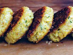 quinoa patties. ingredients: quinoa, parmesan, yellow onion, and green onions.