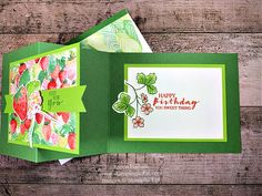 sweet strawberry stamp set, berry blessings bundle, coloring with blends markers, birthday card idea, z-fold card, stampin up, karen hallam Stampin Pretty, Stampin Up, 21 Cards, Mary Fish, Simple Birthday Cards, Stamping Up Cards, Card Making Inspiration, Paper Crafts, Strawberry