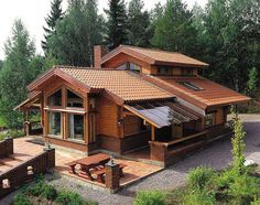 Just a nice cottage ! A Frame House, Log Cabin Homes, Forest House, Cabins And Cottages, Wooden House, Design Case, House In The Woods, Home Fashion, My Dream Home