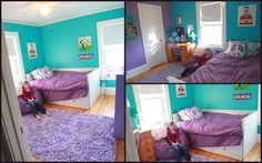 Tween-bedroom-makeover, turquoise and purple bedroom, girls bedroom redo,