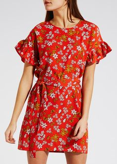 5fcf06cc34 FLORAL BUTTERFLY FRILL SLEEVE DRESS (DRAWINGS)- MATALAN Below The Knee  Dresses
