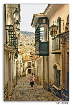 Calle Jaén, La Paz, Bolivia. The 'City That Touches The Sky' is an apt description of La Paz. Calle Jaén, near the city center and Plaza Murrllo, is one of the charming colonial streets in the city.
