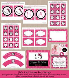 Hello Kitty Inspired Birthday Party Invitation Package