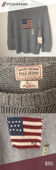 7ea54e2479f NWT Polo Jeans Ralph Lauren American Flag Sweater Vintage Polo Jeans Co. by Ralph  Lauren
