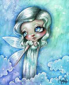 Limited Edition Canvas Print SEE MY Wings SKY Fairy Cute BIG EYE Fantasy ART | eBay
