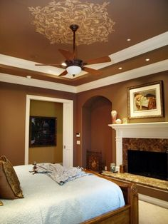 Painted Tray Ceiling With Crown Molding Tray Ceiling Bedroom Painted Ceilings Pinterest