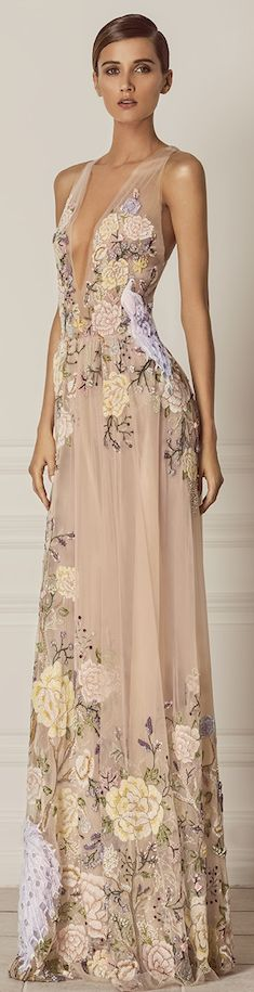 Hamda Al Fahim Fall Winter 2015-2016 floral dress - Pin curated by http://www.thedailyfashioninspiration.com/