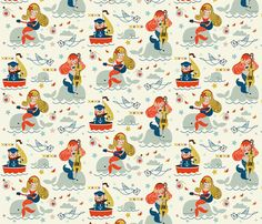 Captain Jack and the Mermaids fabric by theboutiquestudio on Spoonflower - custom fabric