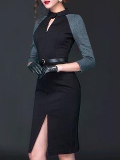 Slit Color Block  Midi Dress with Belt