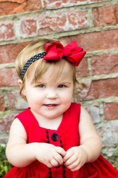 Red Boutique Bow Black Polka Dot Elastic Headband / Chunky Bow Headband / Baby Headbands / Infant Headbands