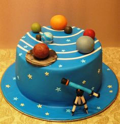 Something like this with alien next to name instead of telescope Fondant Cakes, Cupcake Cakes, Solar System Cake, Science Cake, Planet Cake, Galaxy Cake, Galaxy Cupcakes, Fantasy Cake, Occasion Cakes