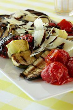 Roasted Vegetable Salad. Shave parmesan and sprinkle balsamic cream over roasted vegetables for an edible presentation.